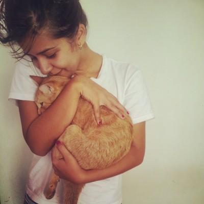 Umarmung der Katze