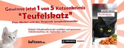 Gewinnspiel: Teufelskatz – Frau Merkel und das fliegende Spaghettimonster