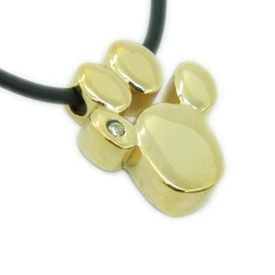 Magnet Kettenanhänger Pfote gold mit Swarovski Element + Kette