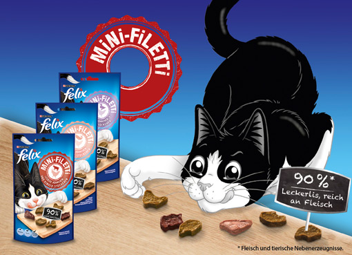 Das Filetstück im Katzensnack-Regal: Felix Mini-Filetti in drei Geschmackskombinationen